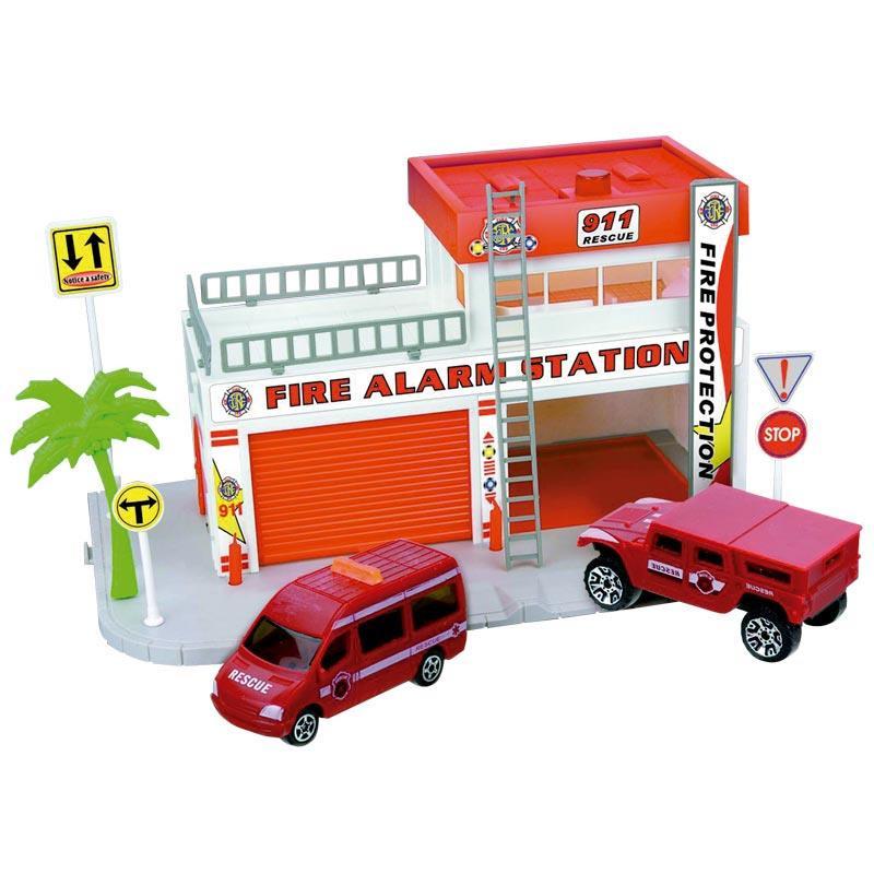 Pista circuito de bomberos con 4 vehículos