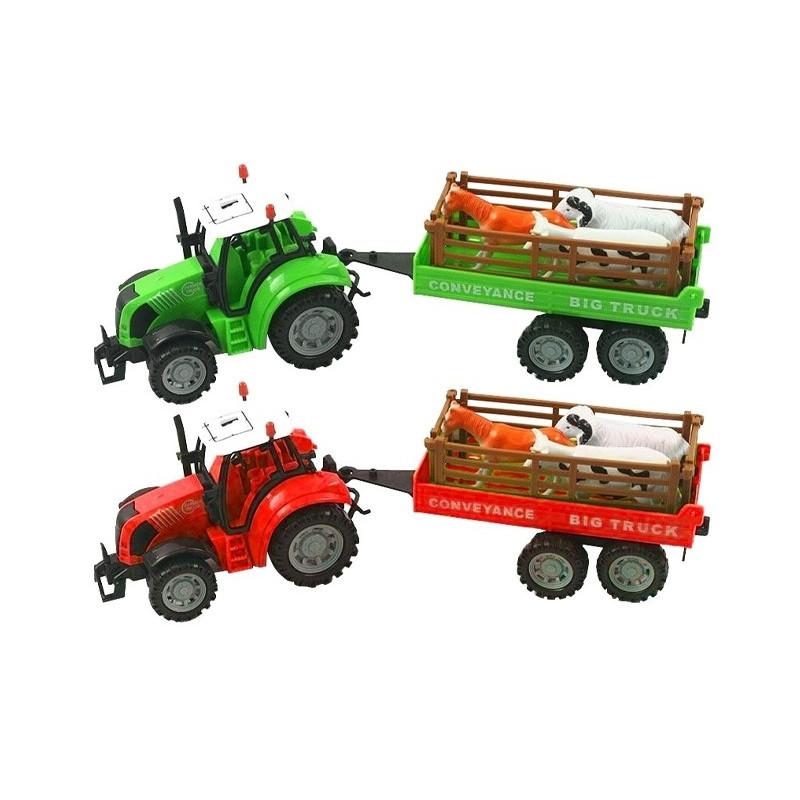 Tractor con Remolque y 3 animales