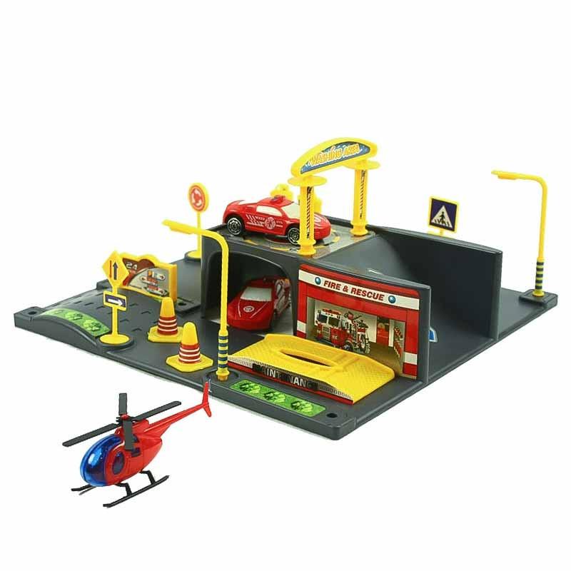 Circuito parque de bomberos con vehículos