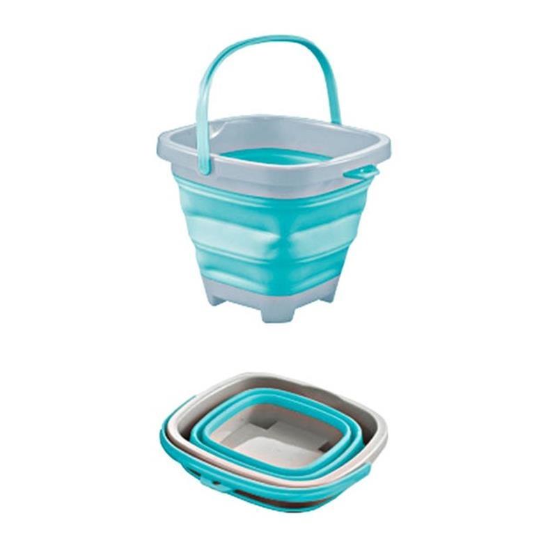 Cubo de playa plegable azul
