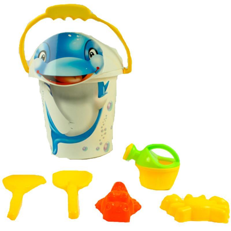 Cubo 20cm delfín con juguetes de arena