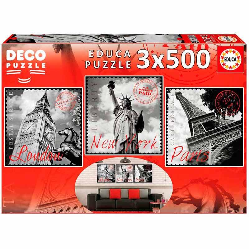 Educa puzzle 3x500 grandes ciudades