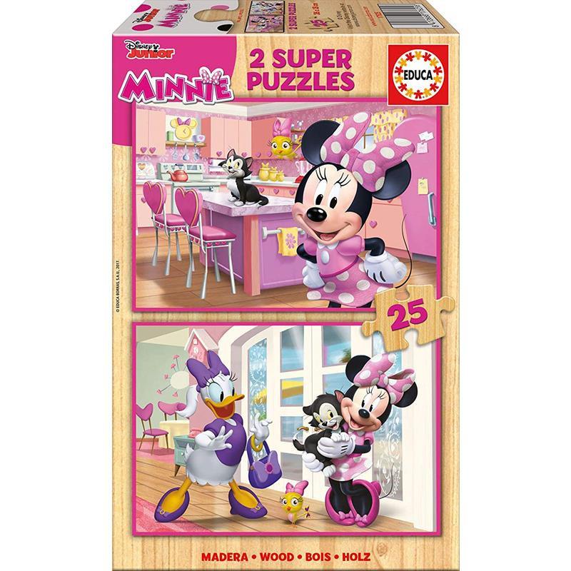 Educa puzzle madera 2x25 Minnie Ayudantes Felices