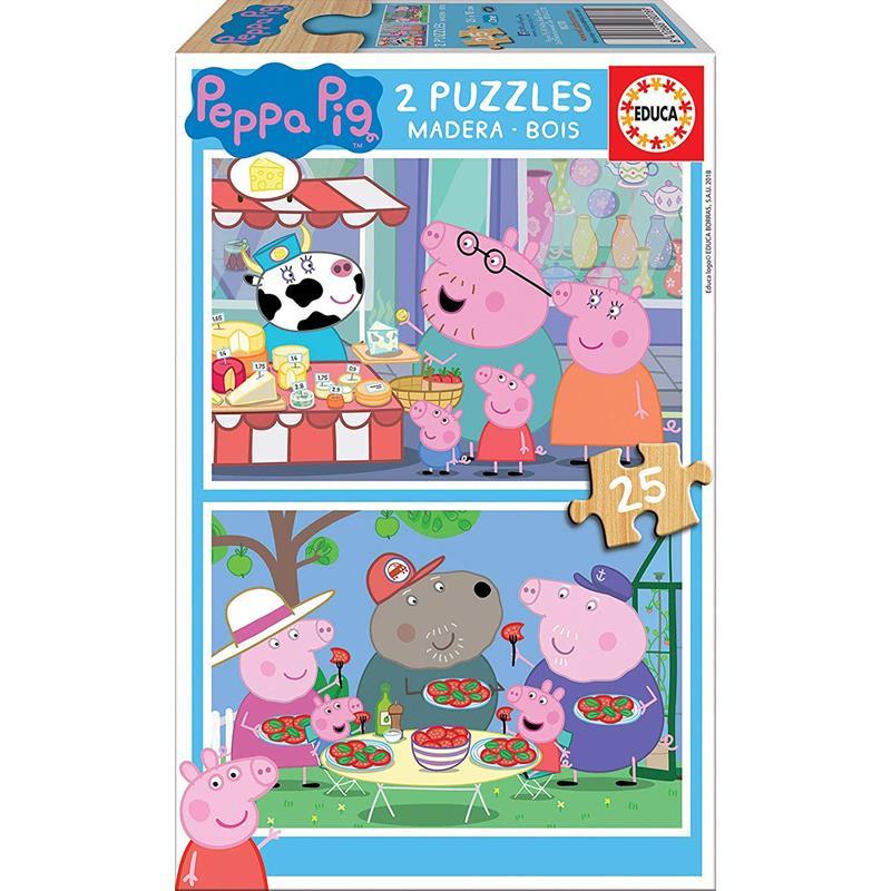 Educa Puzzle Madera 2x25 Peppa Pig