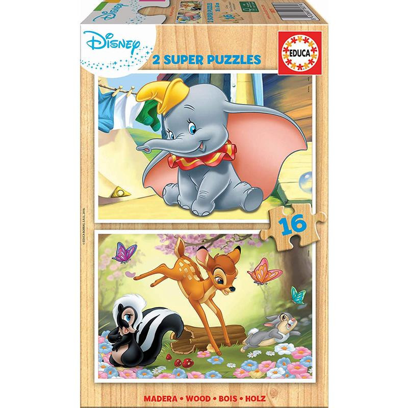 Educa Puzzle Madera 2x16 Dumbo e Bambi
