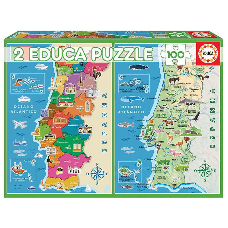 Educa Puzzle 2x100 mapa físico distritos Portugal