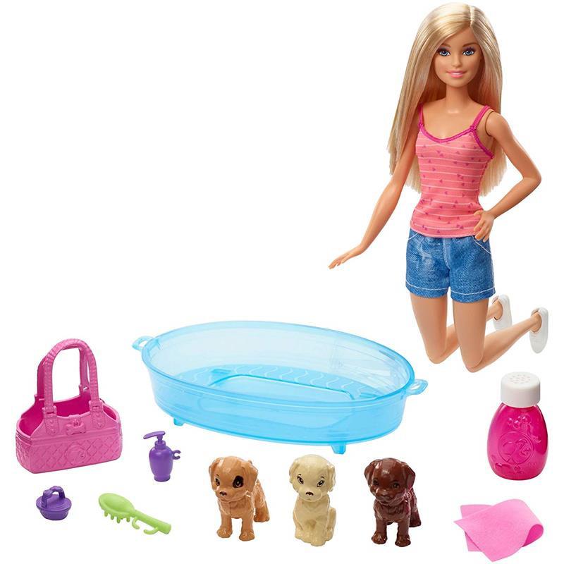 Barbie con perritos y bañera
