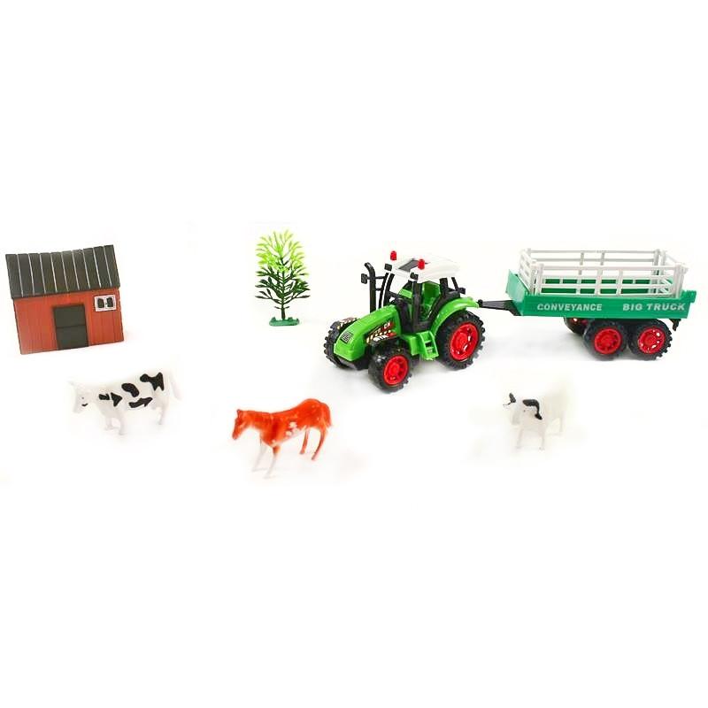 Tractor con romolque y animales