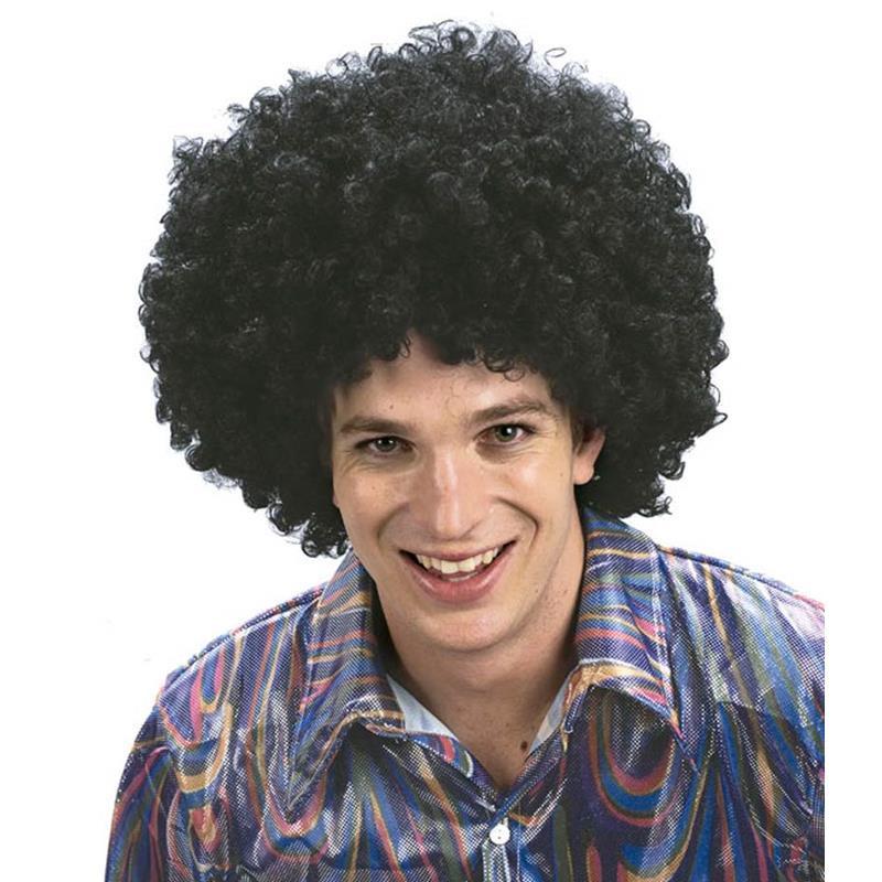 Peluca negra con pelo afro