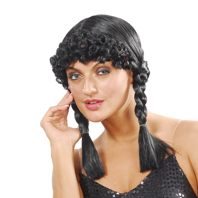 Carnaval peluca negra con trenzas y flequillo