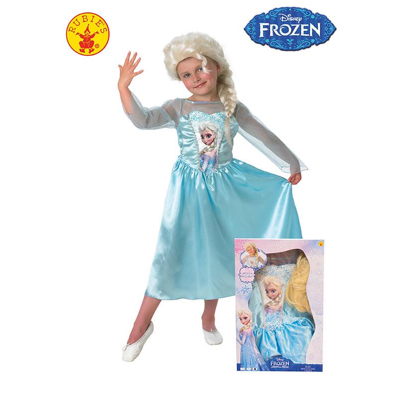 Disfraz Elsa infantil con peluca en caja