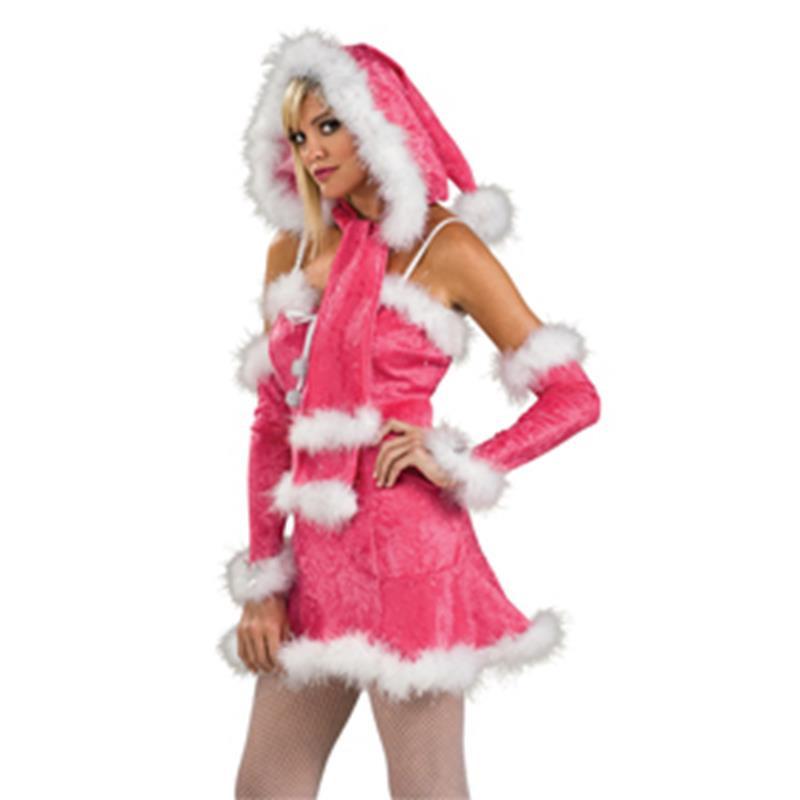 Bufanda con capucha Mamá Noel rosa adulto