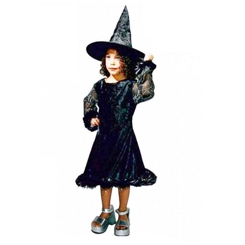 Disfraz bruja ye-ye con sombrero infantil