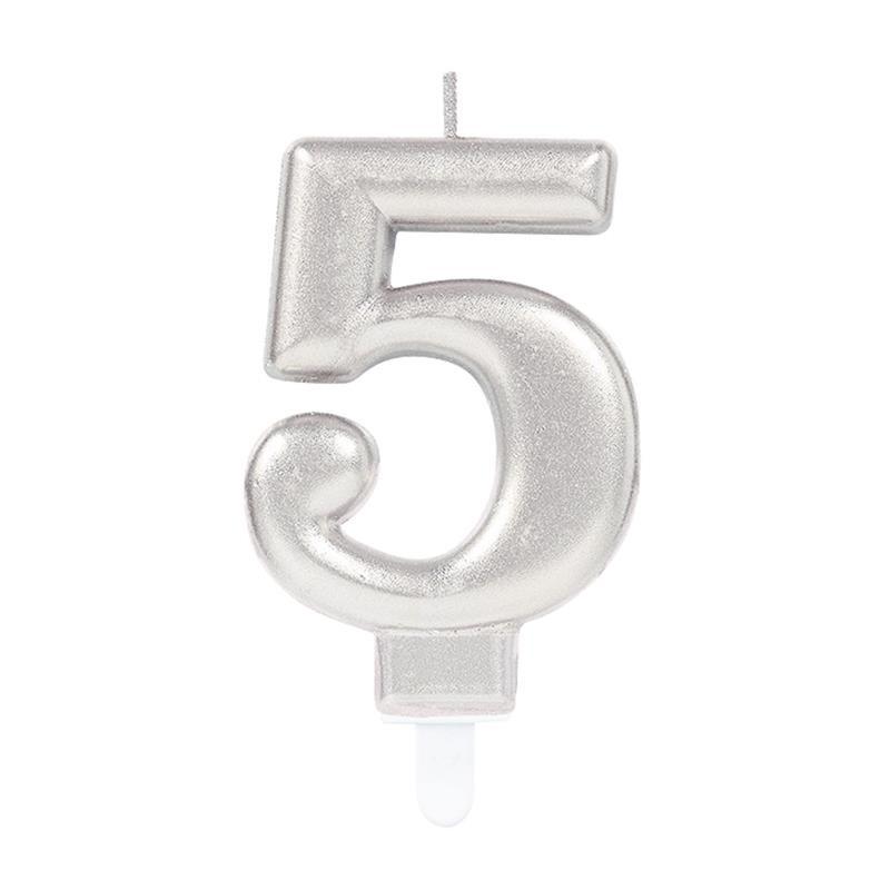 Vela metálica plateada número 5