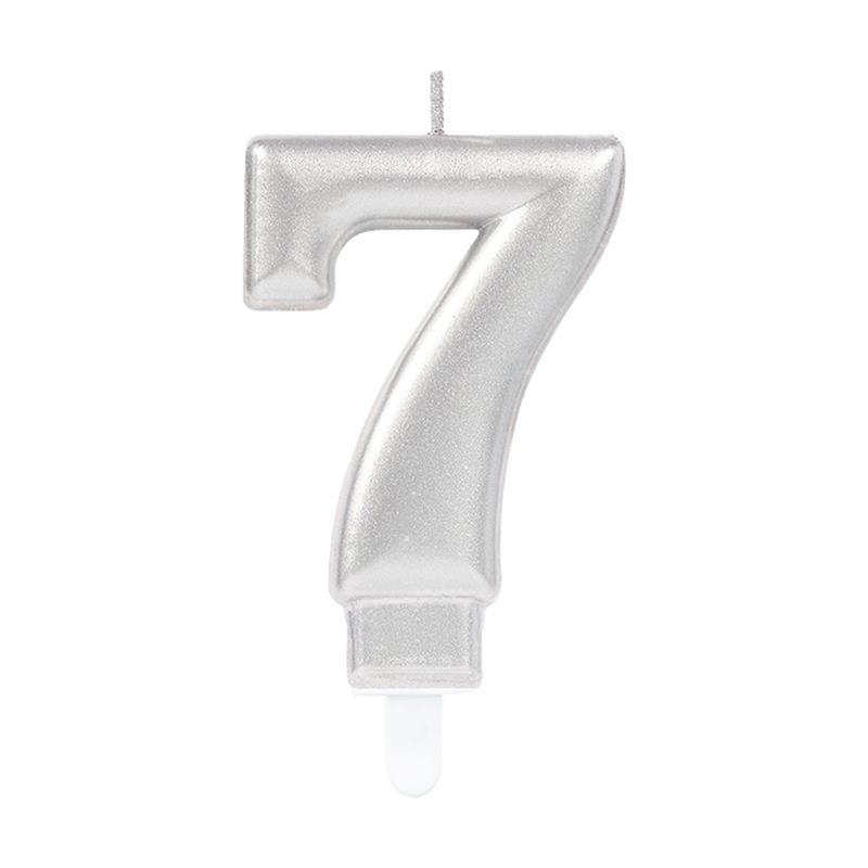 Vela metálica plateada número 7