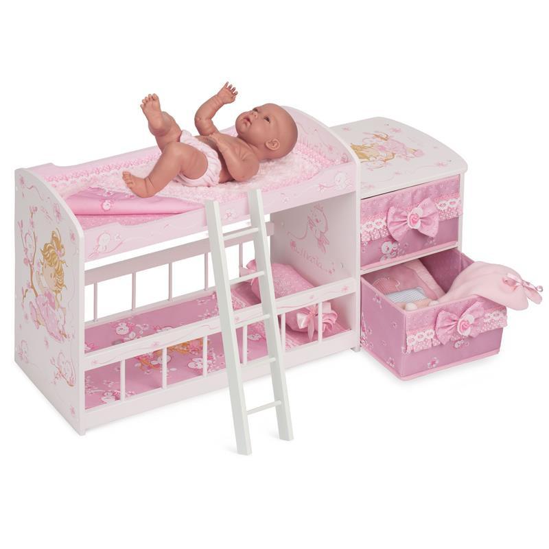 Cuna cambiador de madera para muñecas María