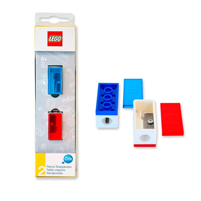 Pack 2 sacapuntas azul y rojo Lego