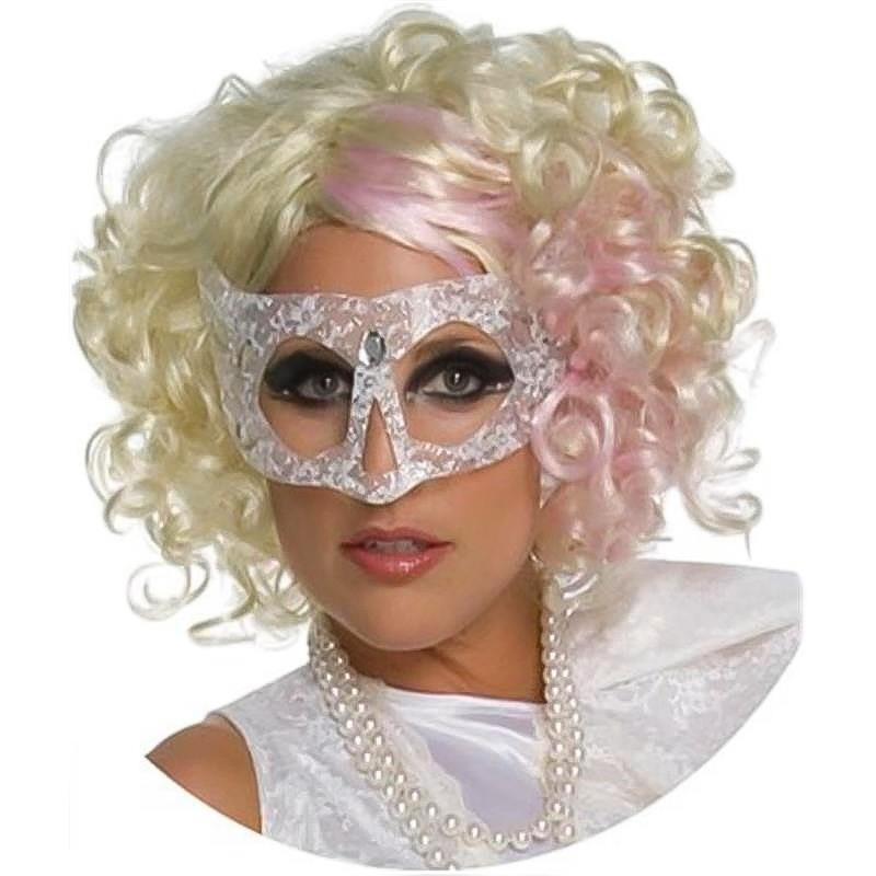 Peluca Lady Gaga Rizada Rosa