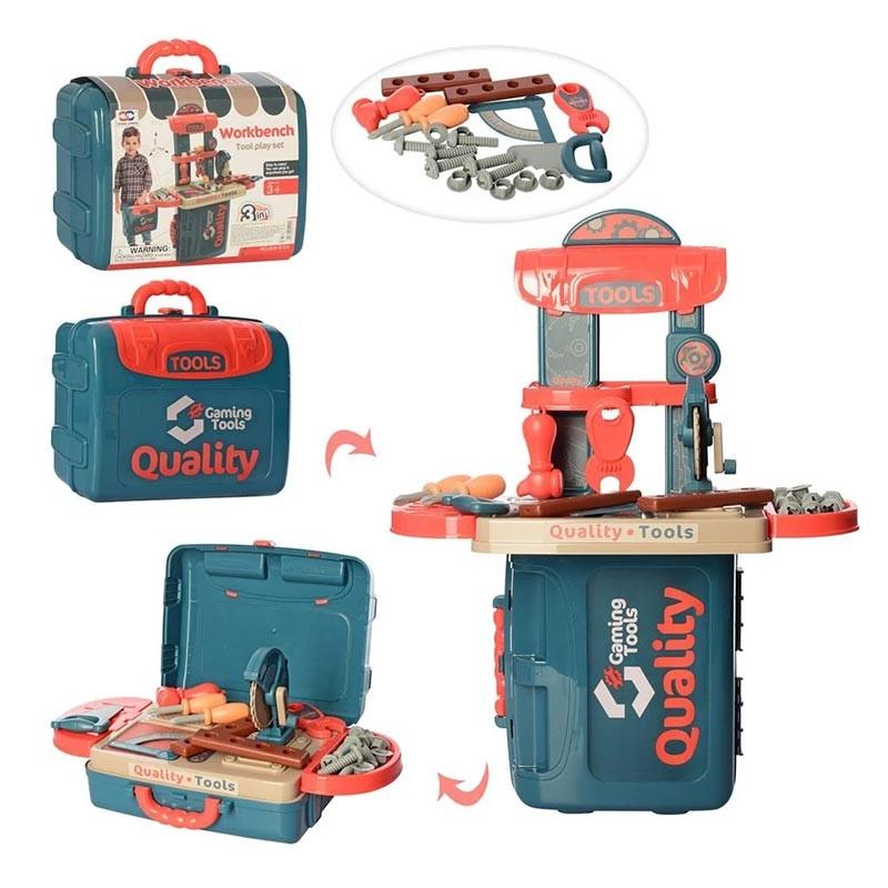 Caja herramientas 3 en 1 y mesa trabajo 21 piezas