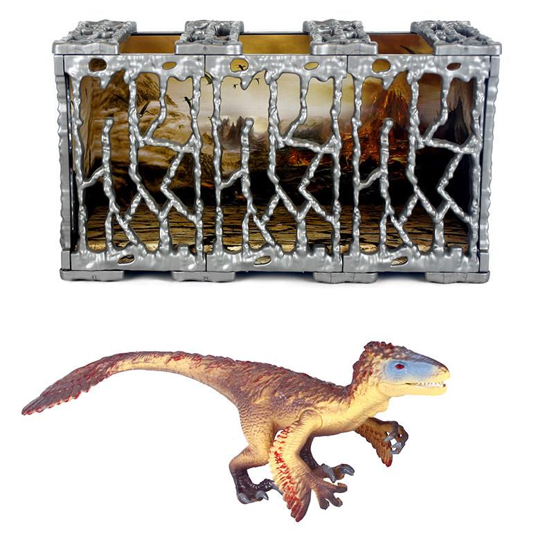 Dinosaurio PVC 20x7cm con jaula