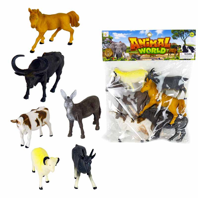 Conjunto 6 animales 12-14cm pvc