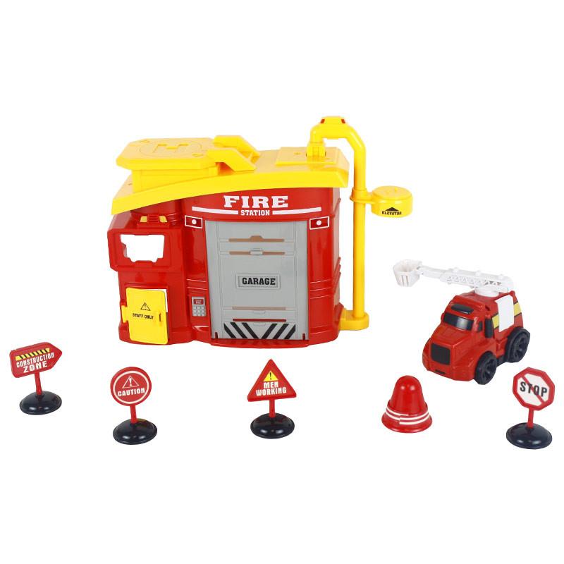 Estación de bomberos con 8 piezas luces y sonidos