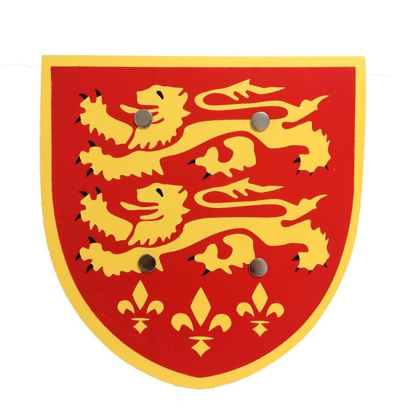 Escudo Madera Rojo Leones Amarillos