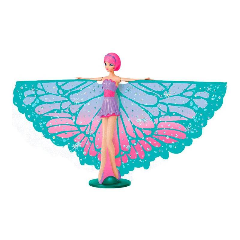 Muñeca Hada Voladora Brillantina Pelo Rosa