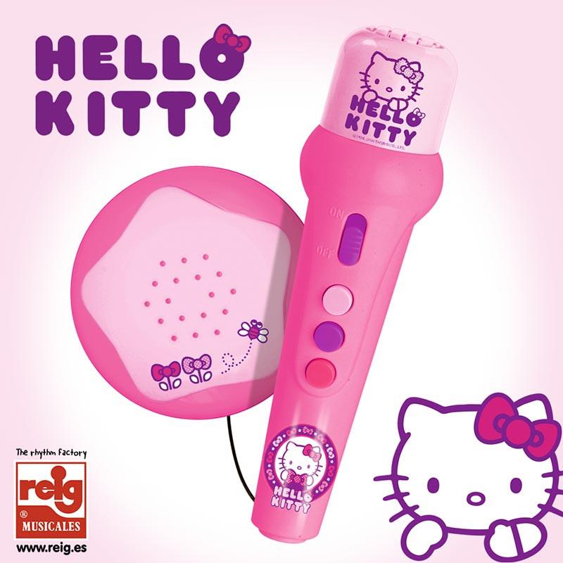 Micro de mano amplificador y ritmos Hello Kitty