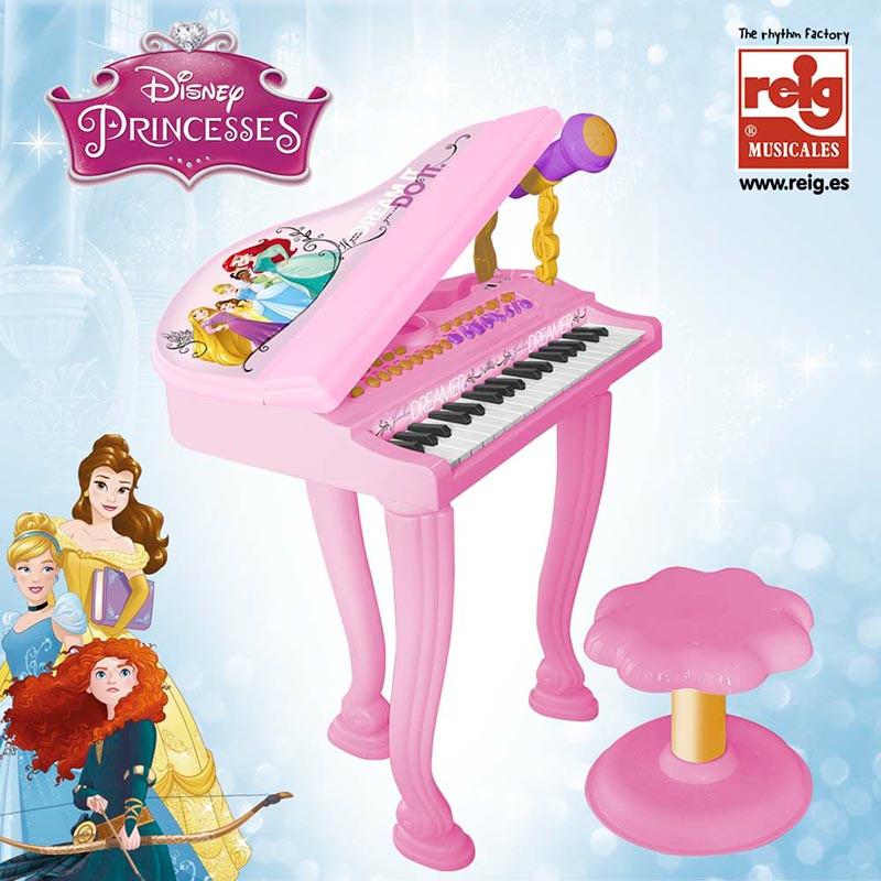 Piano de cola con banqueta Princesas Diseny