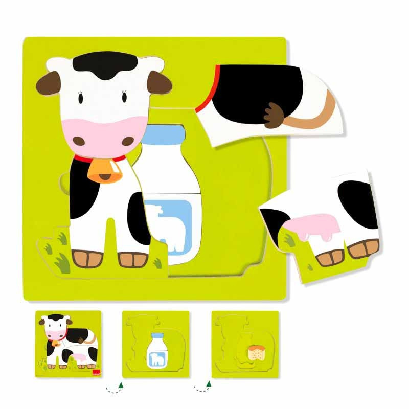 Puzzles tres niveles vaca