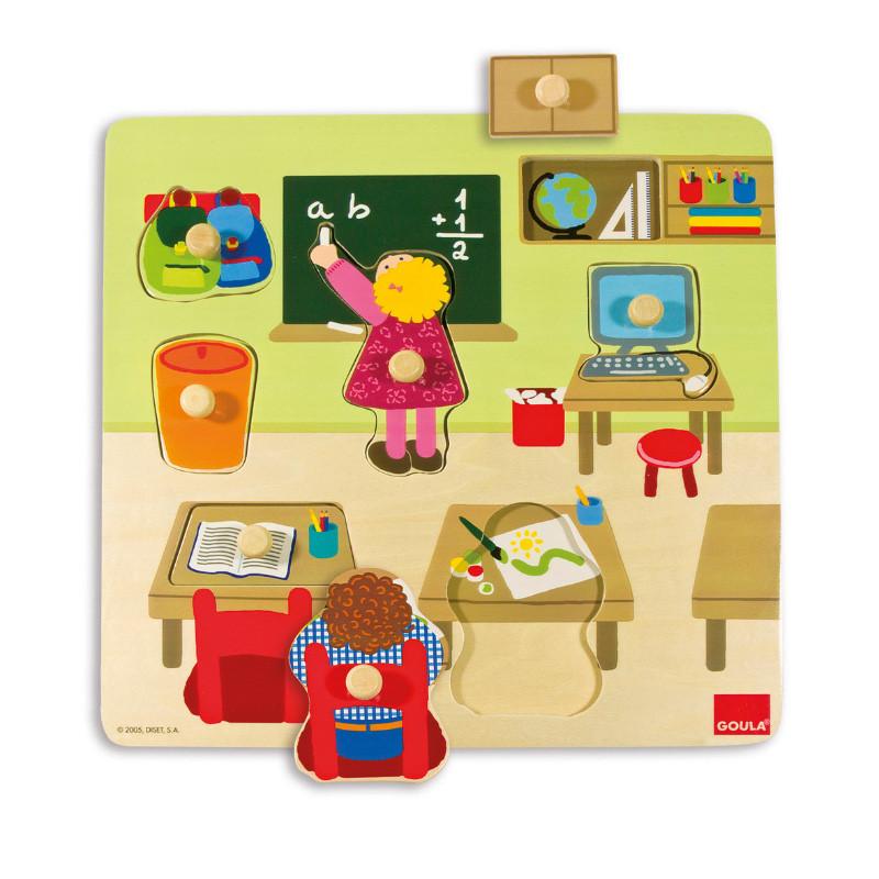 Puzzle escuela 7 piezas madera