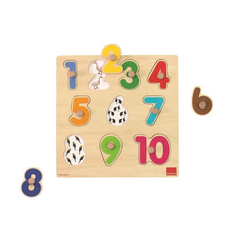 Puzzle madera números con pivotes