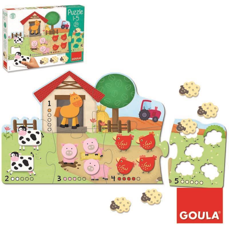 Puzzle de madera la granja del 1 al 5