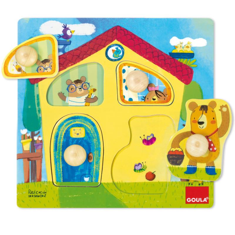 Puzzle casa familia osos de madera