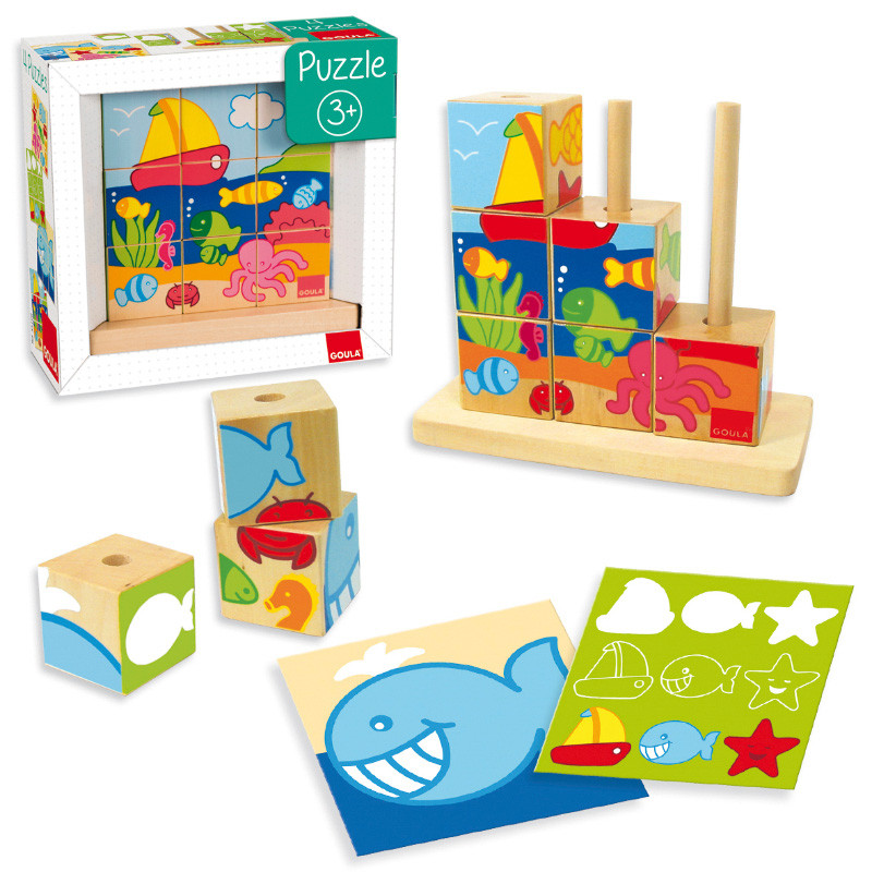 Puzzle cubos de madera
