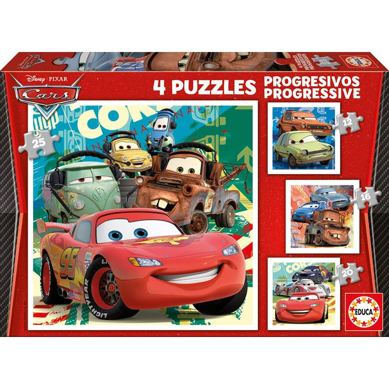 Educa puzzle progresivos Cars 2 12-16-20-25