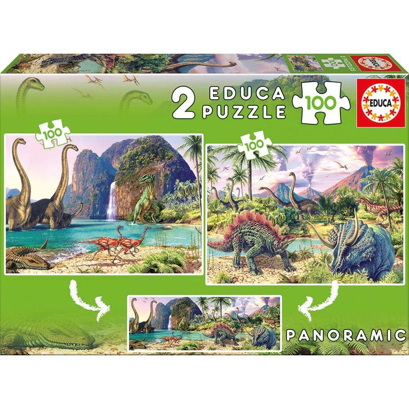 Educa puzzle 2x100 dino world