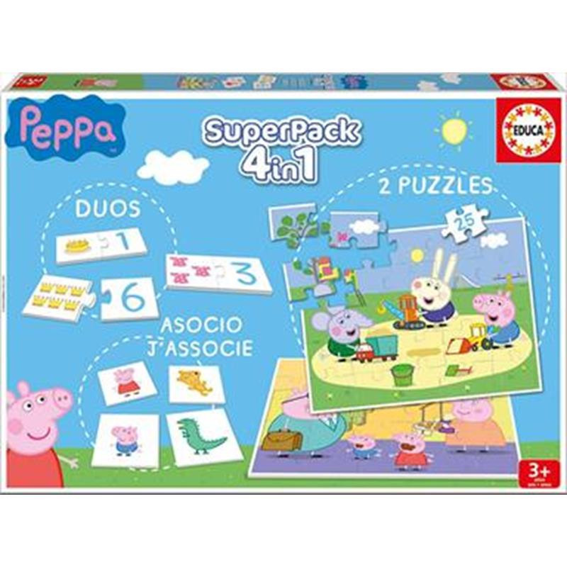 Educa puzzle superpack 4 in 1 juegos Peppa Pi