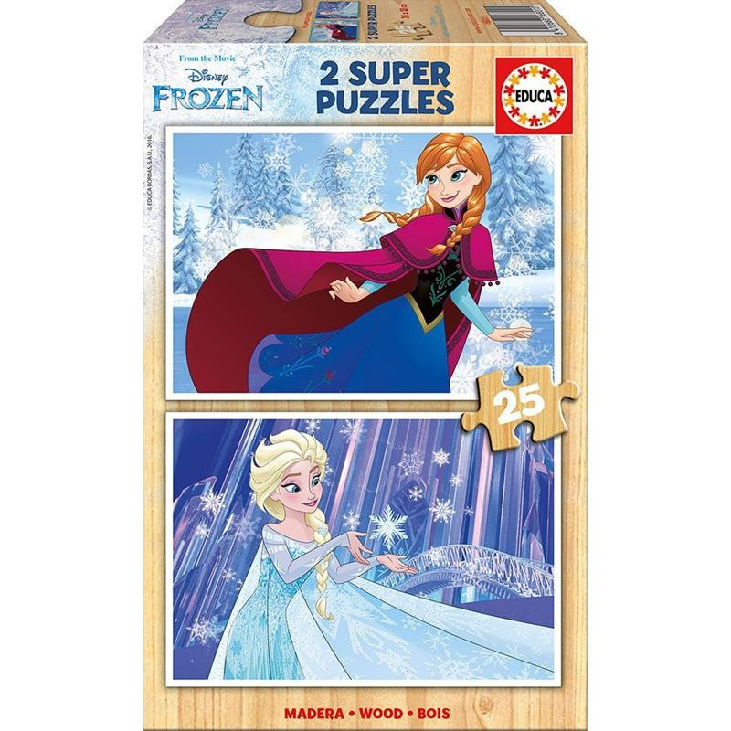 Educa Puzzle 2X25 Frozen Madera