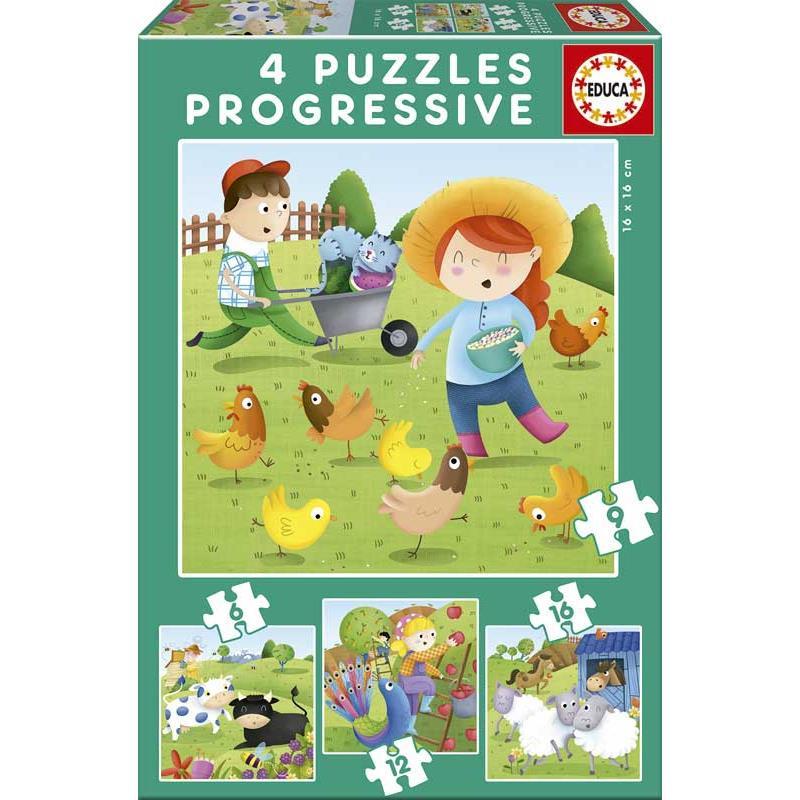 Educa puzzle progresivo animales de la granja
