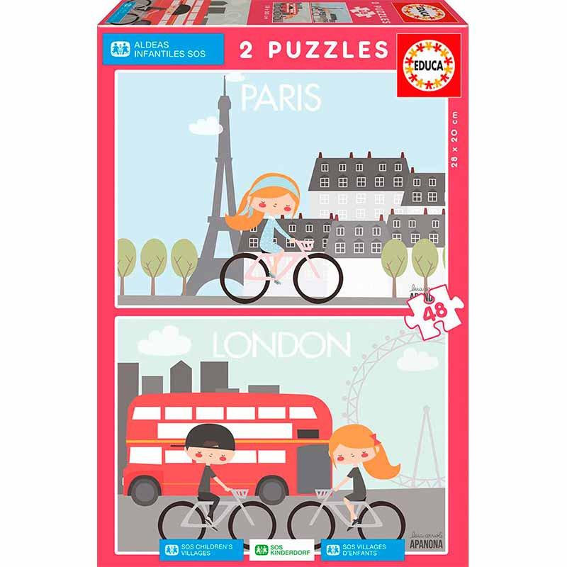 Educa puzzle 2x48 París y Londres