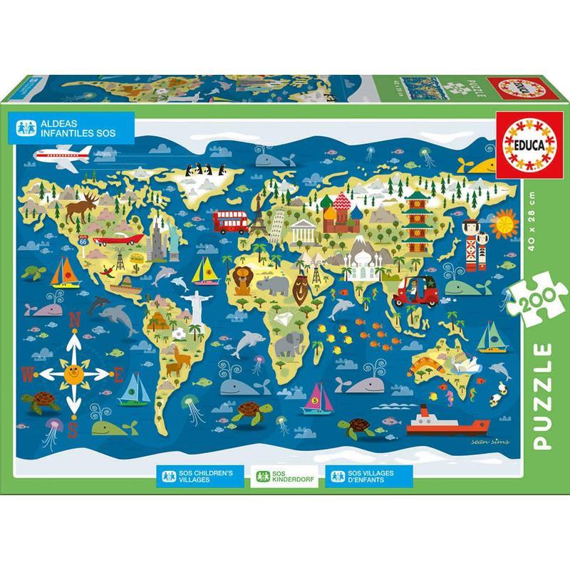 Educa puzzle 200 mapamundi