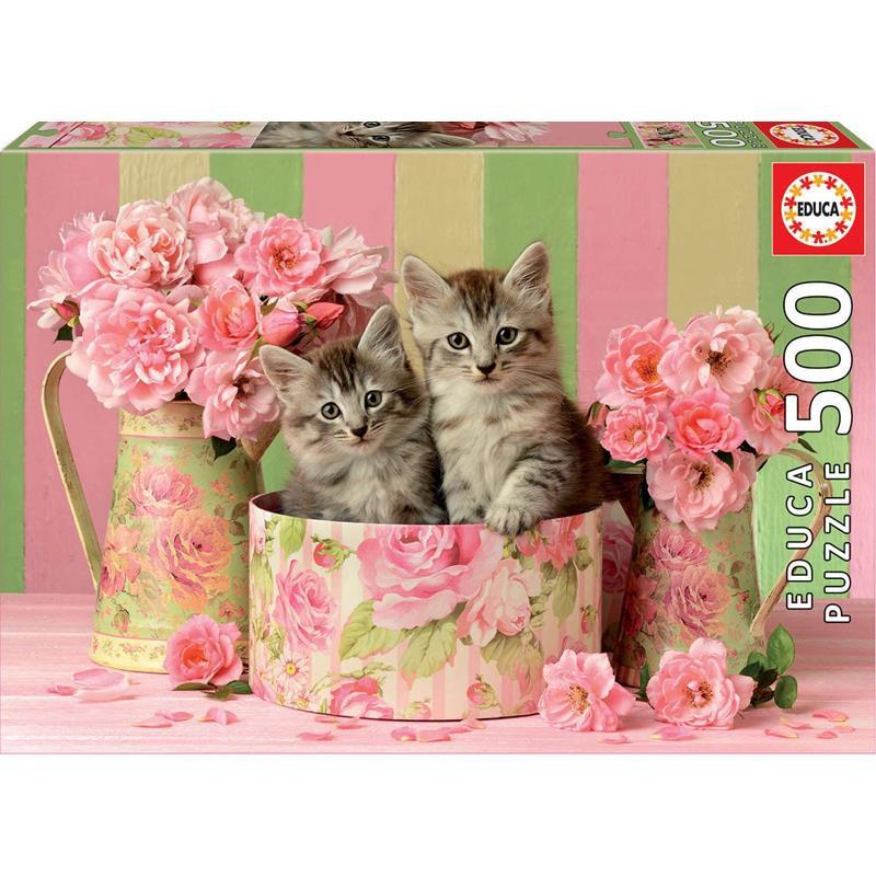 Educa puzzle 500 gatitos con rosas
