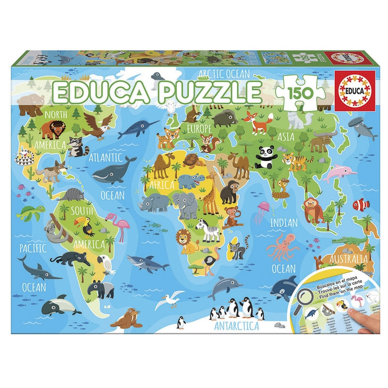 Educa puzzle 150 mapamundi de los animales