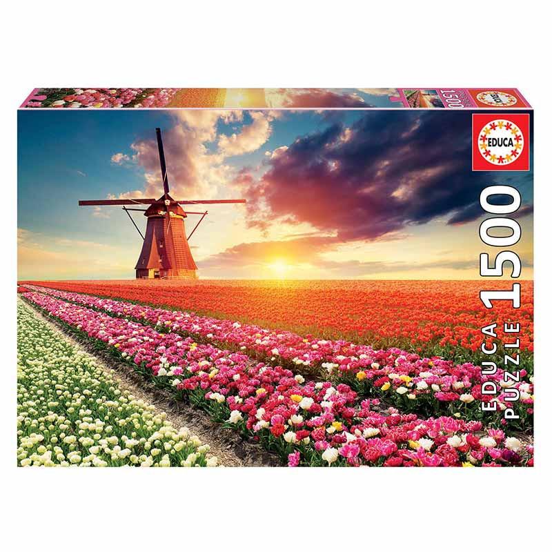 Educa puzzle 1500 paisajes de tulipanes