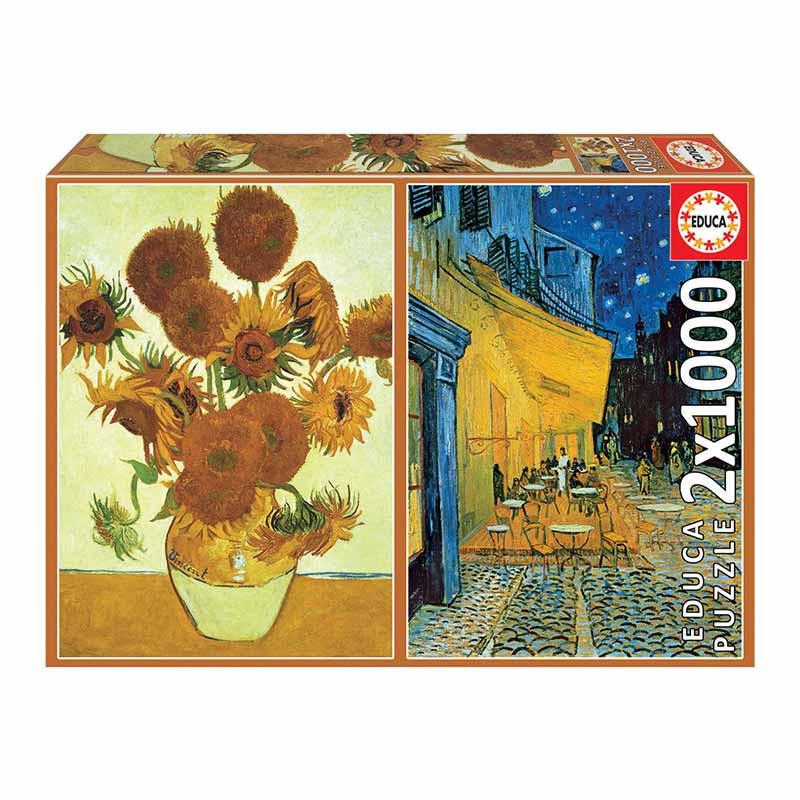 Educa puzzle 2X1000 girasoles+terraza Van Gogh