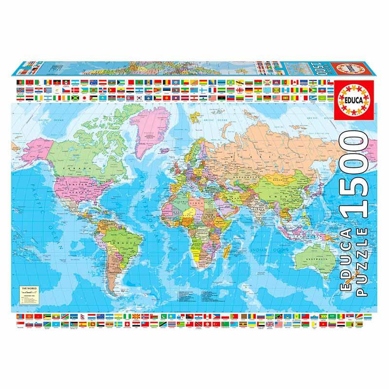 Educa puzzle 1500 mapamundi político