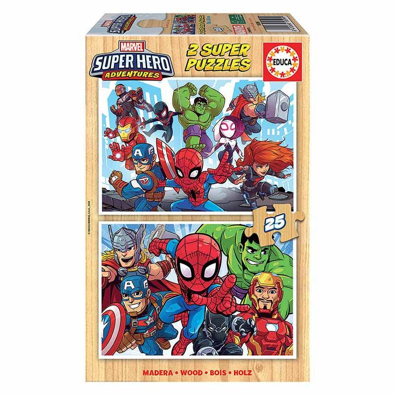 Educa puzzle madera 2x25 Súper Héroes