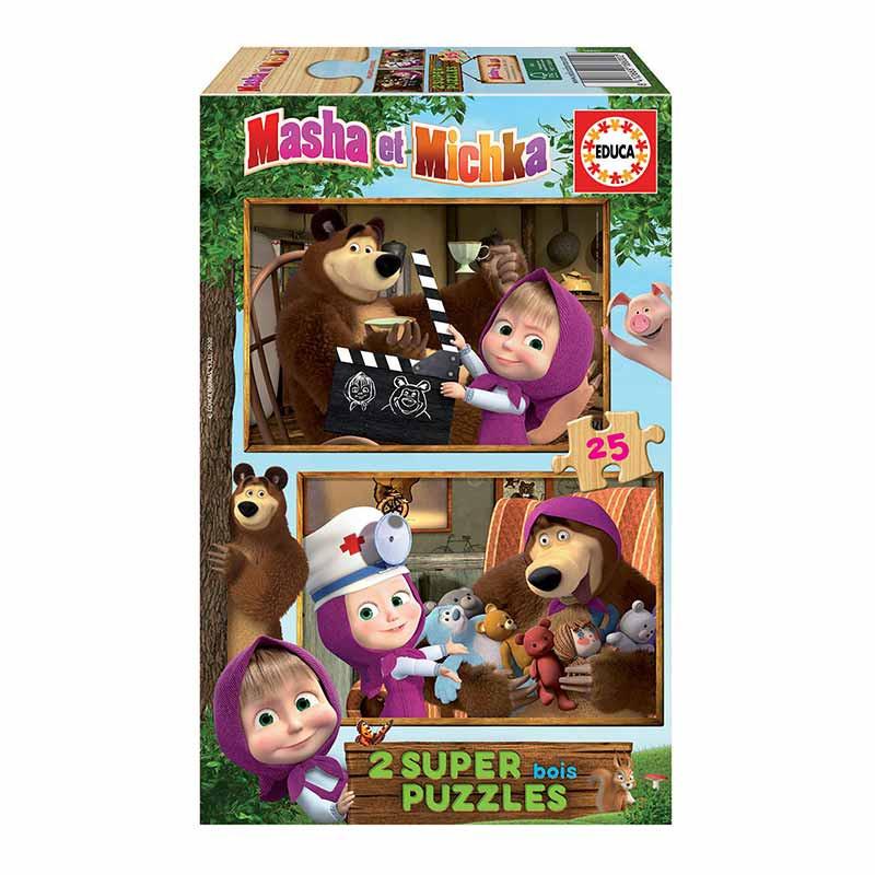 Educa puzzle madera 2x25 Masha y el oso